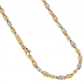 Yellow and white gold 18k 750/1000 traversino type man chain