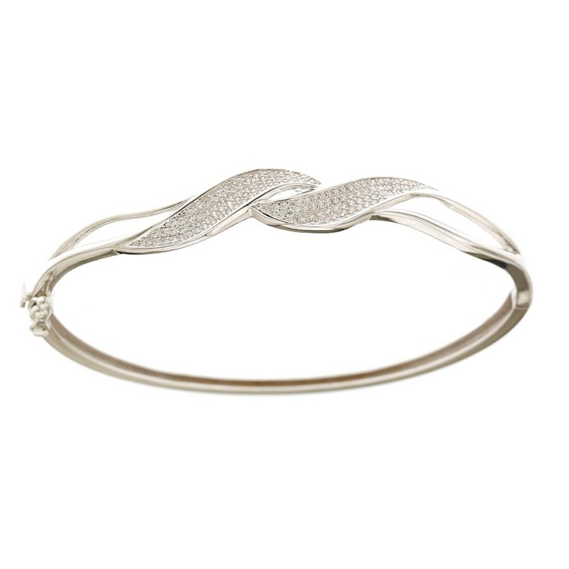 White gold 18k 750/1000 with cubic zirconia rigid woman bangle