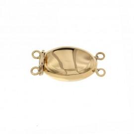 Chiusura in oro giallo 18 Kt 750/1000 ovale lucida per 2 fili di perle