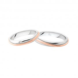 White and rose gold 18k 750/1000 3115 DBR-UBR Polello wedding rings