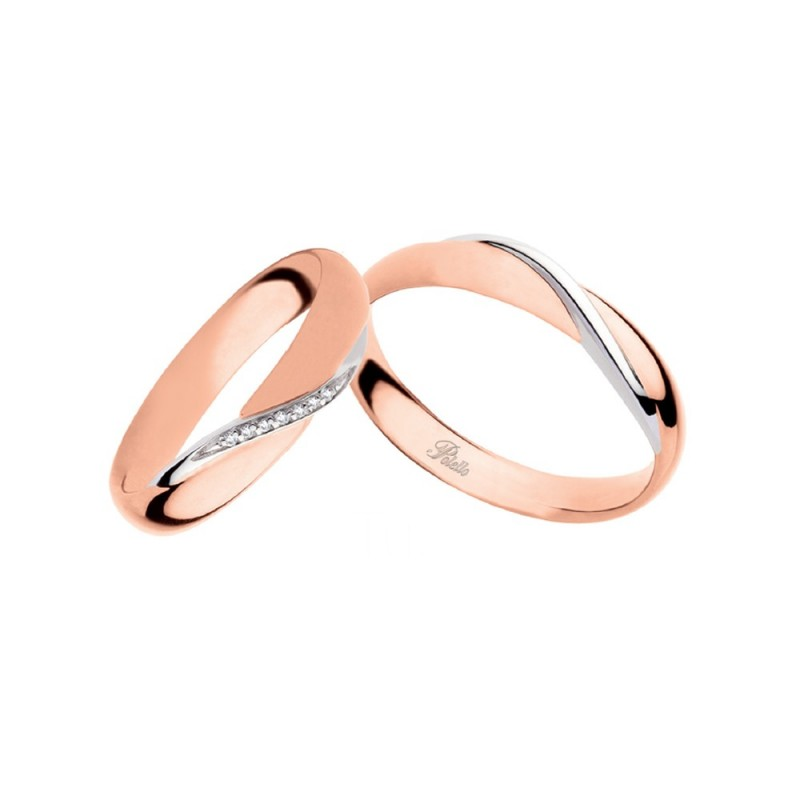 White and rose gold 18k 750/1000 with diamonds Polello wedding rings 2892DRB-URB