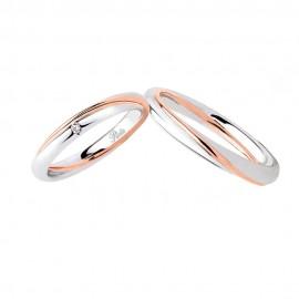 Fedi Polello in oro bianco e oro rosa 18 Kt 750/1000 con diamante 2838 DBR-UBR