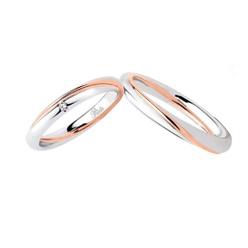 White and rose gold 18k 750/1000 with diamond Polello wedding rings 2838 DBR-UBR