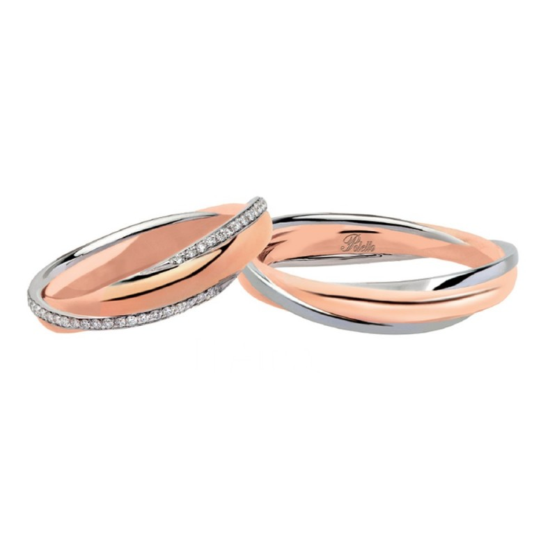 White and rose gold 18k 750/1000 with diamonds Polello wedding rings 2833DBR-UBR