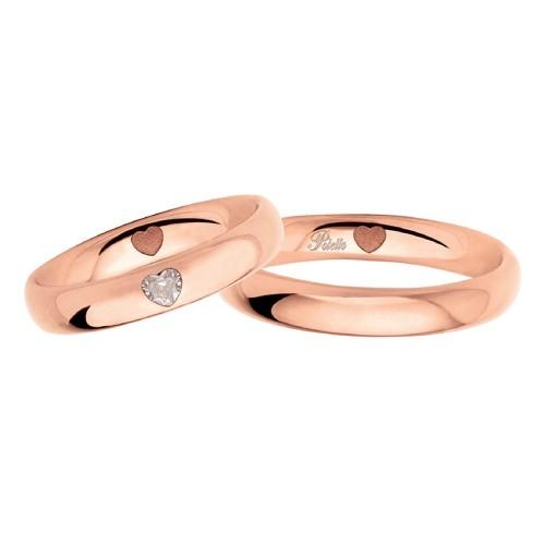Rose gold 18k 750/1000 with heart shaped diamond Polello wedding rings 2977 DR-UR