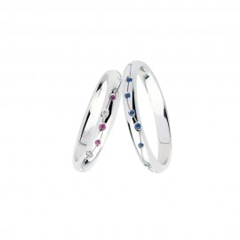 White gold 18k with diamonds, rubies and sapphires Polello wedding rings