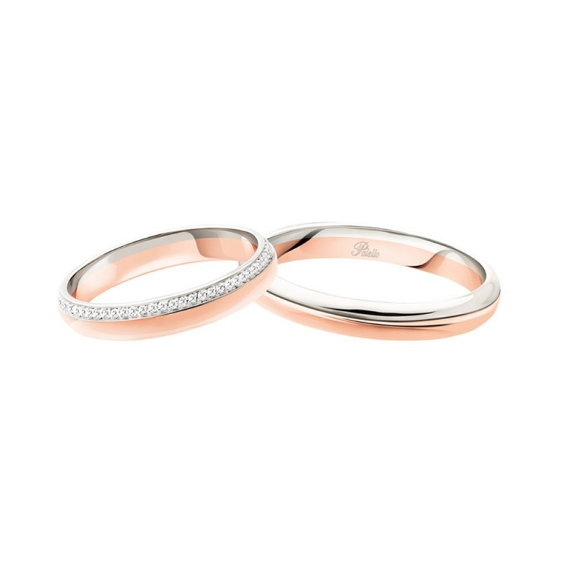 White and rose gold 18k 750/1000 with diamonds 3116 DBR-UBR Polello wedding rings