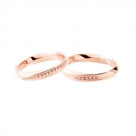 Rose gold 18 Kt 750/1000 3118 with diamonds DR - UR Polello wedding ring