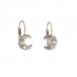 White gold 18k 750/1000 half moon shaped openworked earrings