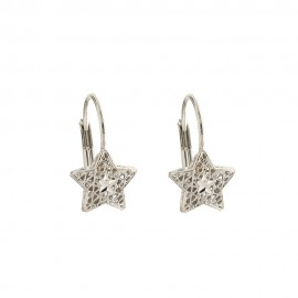 White gold 18k 750/1000 star shaped openworked earrings