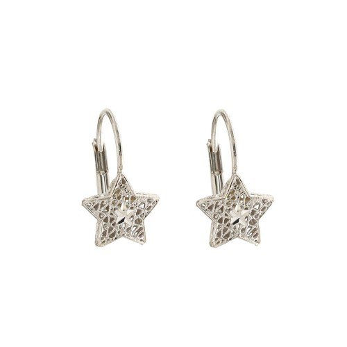 White gold 18k 750/1000 star shaped openworked earrings
