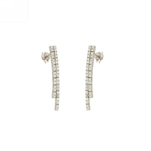 White gold 18k 750/1000 Tennis type woman earrings