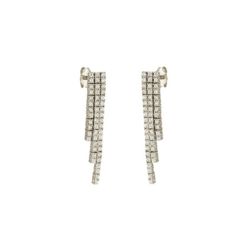 White gold 18k 750/1000 Tennis type woman earrings