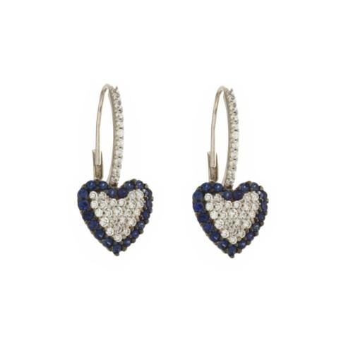 Orecchini a forma di cuore in oro bianco 18 Kt 750/1000 con zirconi blu e bianchi