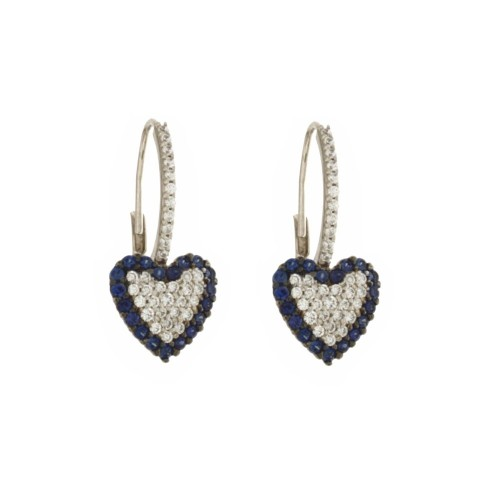 White gold 18k 750/1000 heart shaped blue ad white stones woman earrings