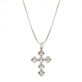 Collana in oro bianco 18 Kt 75071000 con croce stilizzata