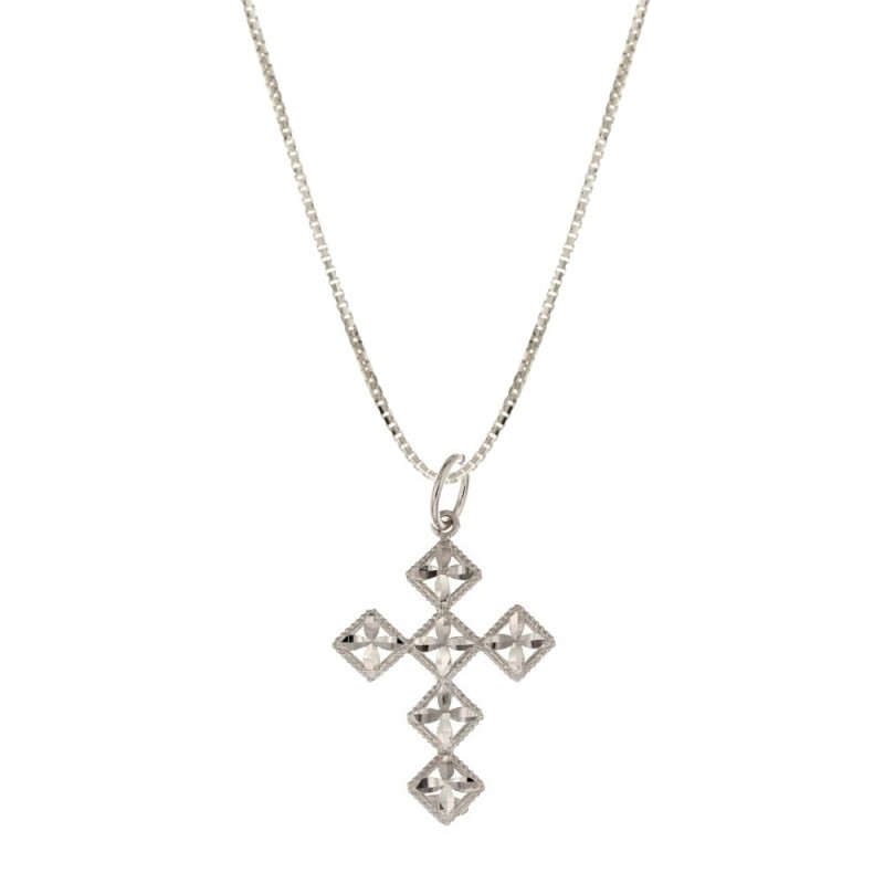 White gold 18k 750/1000 with stylised cross woman necklace