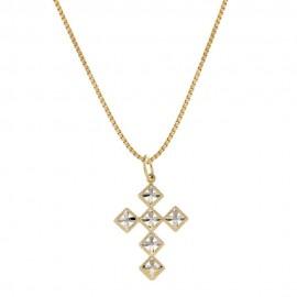 Collana in oro giallo e bianco 18 Kt 75071000 con croce lucida e martellata da donna
