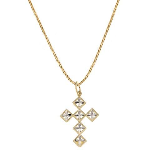 Collana in oro giallo e bianco 18 Kt 75071000 con croce stilizzata