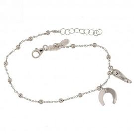 White gold 18k 750/1000 dangling horn and horseshoe pendants baby girl bracelet