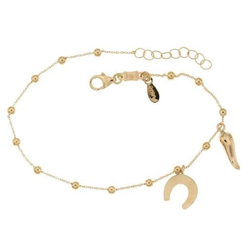 Yellow gold 18k 750/1000 dangling horn and horseshoe pendants baby girl bracelet
