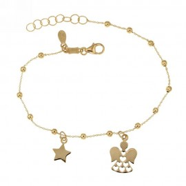 Yellow gold 18k 750/1000 dangling star and angel pendants baby girl bracelet