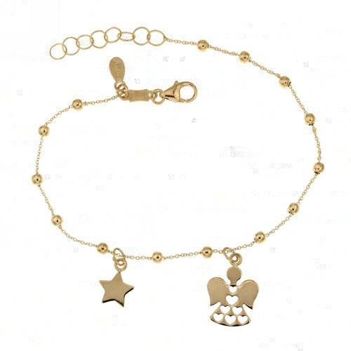Yellow gold 18k 750/1000 dangling star and angel pendants baby girl bracelet