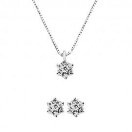 Set collana + orecchini in oro bianco 18 Kt 750/1000 con diamanti