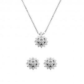 Set collana + orecchini in oro bianco 18 Kt 750/1000 con diamanti Grama&Mounier