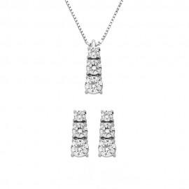 Set collana + orecchini in oro bianco 18 Kt 750/1000 modello trilogy con diamanti Grama&Mounier