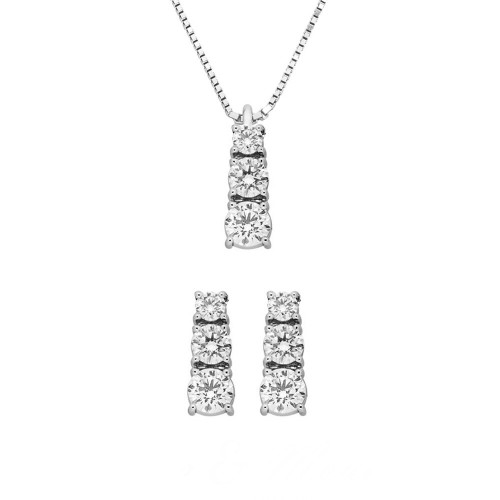 White gold 18k 750/1000 Trilogy type with diamonds Grama&Mounier woman set