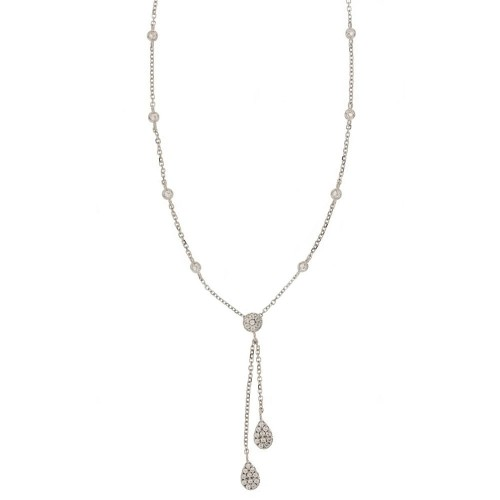 White gold 18k 750/1000 with two drops shaped pendant woman necklace