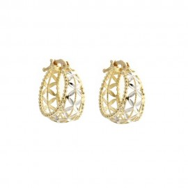 Yellow and white gold 18k 750/1000 openworked hoops earrings