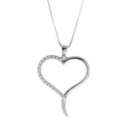 Collana in oro bianco 18 Kt 750/1000 con cuore e diamanti Grama&Mounier