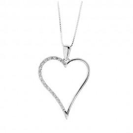 Collana in oro bianco 18 Kt 750/1000 con pendente a forma di cuore e diamanti Grama&Mounier