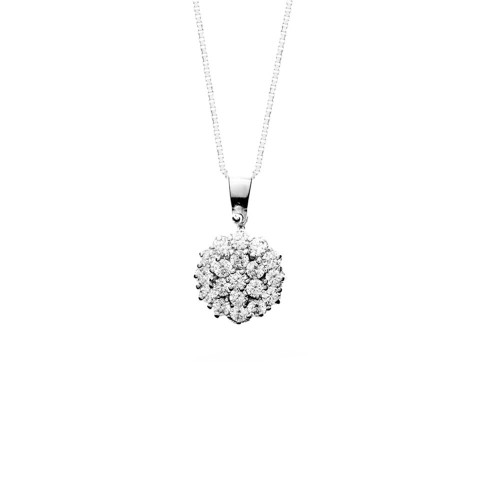 White gold 18k 750/1000 round shaped pendant with diamonds woman necklace