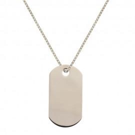 Collana in oro bianco 18 Kt con targa personalizzabile ovale