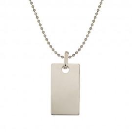 Collana in oro bianco 18 Kt 750/1000 con targa personalizzabile rettangolare