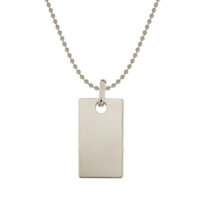 White gold 18k 750/1000 rectangular medal man necklace
