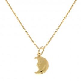 Collana in oro giallo 18 Kt 750/1000 con pendente a forma di luna