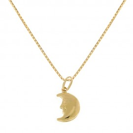 Yellow gold 18k 750/1000 moon shaped pendant woman necklace