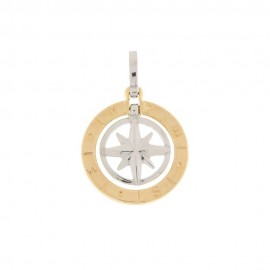 White and yellow gold 18k 750/1000 compass rose pendant