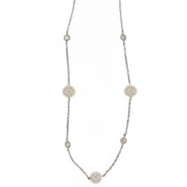 White gold 18 Kt 750/1000 with pearls and white cubic zirconia woman choker