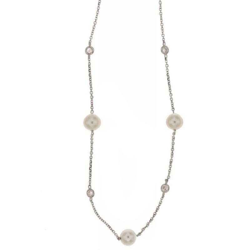 Girocollo in oro bianco 18 Kt 750/1000 con zirconi e perle naturali da donna