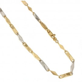 White and yellow gold 18kt 750/1000 link chain shiny men necklace