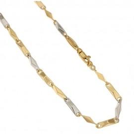 Collana in oro bianco e giallo 18kt 750/1000 maglia tubolare lucida da uomo