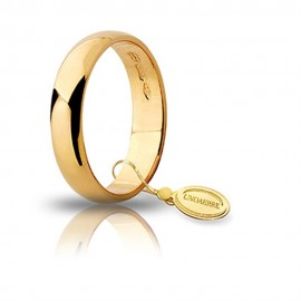 Yellow gold 18Kt 750/1000 unoaerre shiny uinisex wedding ring