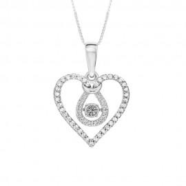 Collana in oro bianco 18 Kt 750/1000 con cuore di diamanti Kt 0.49 Grama&Mounier