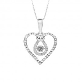 White gold 18k 750/1000 with heart shaped pendant and diamonds woman necklace Grama&Mounier