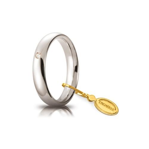 Fede Unoaerre in oro modello Comoda con brillante da ct 0, 03, lucida 40AFC1 larghezza fascia 4 mm unisex